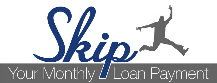 Skip Your Monthly Loan Payment image with silhouette of a man jumping