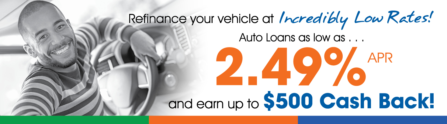 Auto loan rates as low as 2.49% APR and earn up to $500 cash back!
